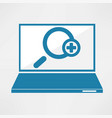 laptop with magnifying glass icon vector image