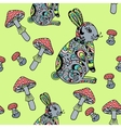 Seamless pattern with mushroom and bunny vector image