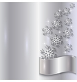 Silver Invitation Card with Snowflakes vector image