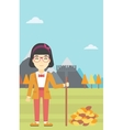 Woman raking autumn leaves vector image