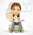 Joyful schoolgirl reading a book vector image vector image