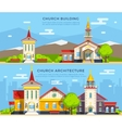 Church Flat Banners vector image