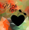 heart on the background of colored triangles vector image