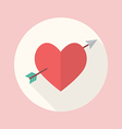 Heart with cupid arrow flat icon vector image