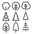 isolated black and white color trees in lineart vector image