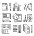 School items flat line icons vector image