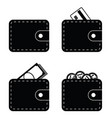 wallet with credit card and money set vector image