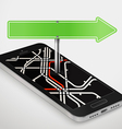 Modern smartphone with abstract metro map Dark vector image vector image