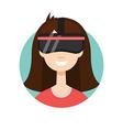 VR helmet girl vector image vector image