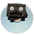 MiniDV Tape over DVD vector image