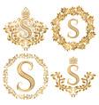 Golden S letter vintage monograms set Heraldic vector image