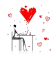 Valentine day Girl with laptop in cafe vector image vector image