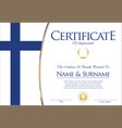 certificate or diploma finland flag design vector image