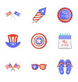 patriotism day icons set cartoon style vector image