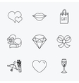 Love heart brilliant and engagement ring icons vector image