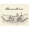 Barcelona Spain drawn sketch vector image