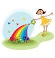 girl watering flowers vector image