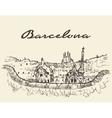 Barcelona Spain drawn sketch vector image