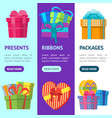 cartoon color gift boxes banner vecrtical set vector image