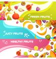 Fresh Fruits Horizontal Banners Set vector image