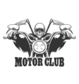 Motor Club Emblem Death on a motorcycle in glasses vector image