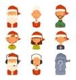 Santa Claus family wife kids avatars vector image