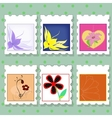 postage stamps with flowers vector image