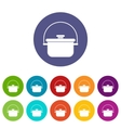 Cooking cauldron set icons vector image