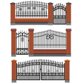 Gate and fences with brick columns and lattice vector image vector image