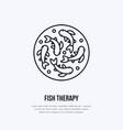 fish therapy line icon spa peeling service vector image