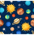 Cosmic seamless pattern with planets of the solar vector image