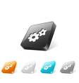 3d web button with gear icon vector image