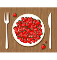 Strawberries on plate vector image
