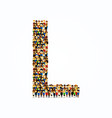 a group of people in english alphabet letter l vector image