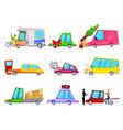 cartoon car accident comic minicar and vector image