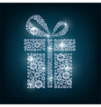 Concept gift of diamonds on the blue background vector image