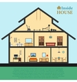 Detailed house in cut Different modern furniture vector image