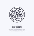 fish therapy line icon spa peeling service vector image