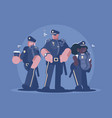 group of police man and woman vector image