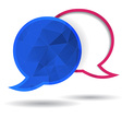 Two polygonal speech bubble chat pink and blue vector image