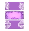 Violet Banner with Hand drawn Feathers vector image