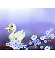A stationery with a white duck and flowers vector image vector image