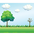 A green field scenery vector image