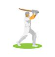 cricket player batsman batting retro vector image