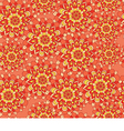 beautiful pattern with flowers on an orange vector image vector image