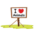 I love animal sign vector image