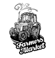 farm tractor hand-drawn sketch vector image