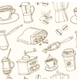 Hand drawn coffee seamless pattern with vector image
