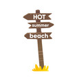 flat cartoon wooden road sign with three planks vector image