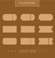Set of ticket shape silhouettes template vector image